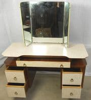 Retro Melamine Kneehole Triple Mirror Dressing Table & Matching Pair Bedside Cabinets